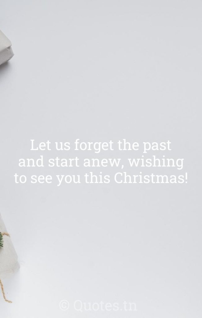 Let us forget the past and start anew, wishing to see you this Christmas! - Christmas Wishes by