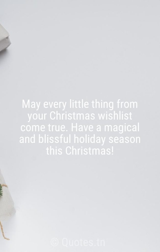May every little thing from your Christmas wishlist come true. Have a magical and blissful holiday season this Christmas! - Christmas Wishes by