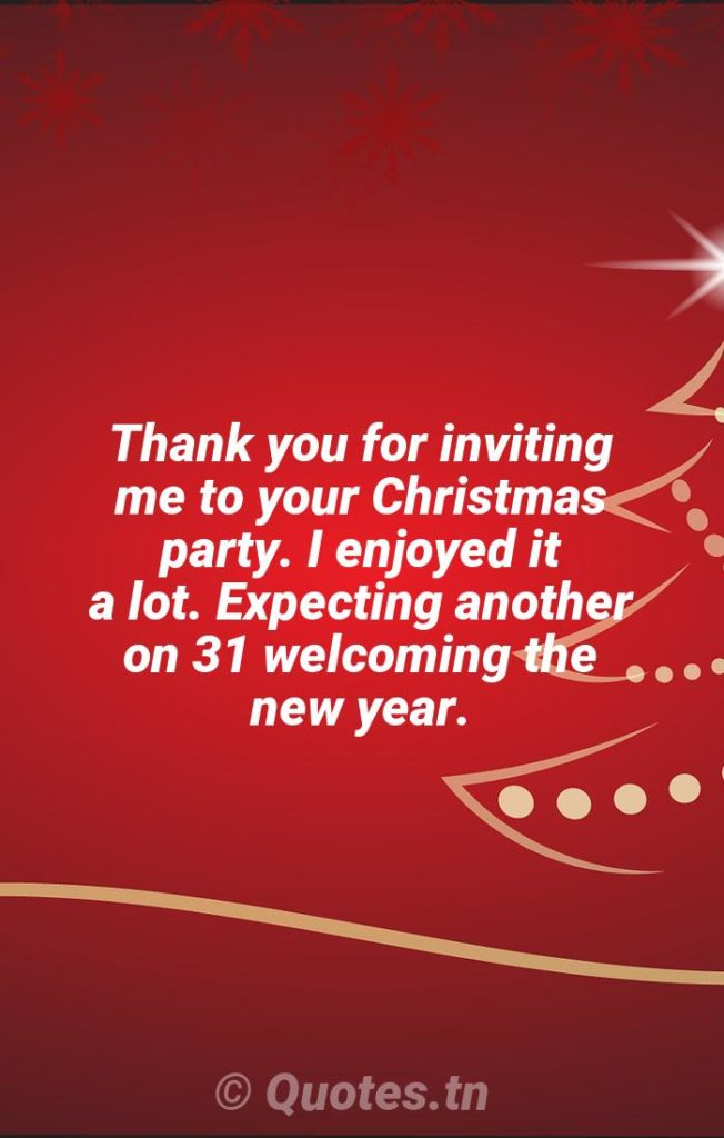 Thank you for inviting me to your Christmas party. I enjoyed it a lot. Expecting another on 31 welcoming the new year. - Christmas Wishes by