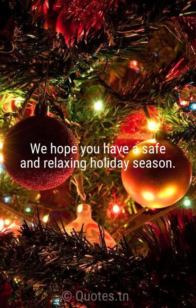 We hope you have a safe and relaxing holiday season. - Christmas Wishes by